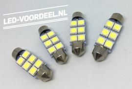 C5W  LED 42mm Helder wit 6 smd - 3 stuks + 1 stuk Gratis