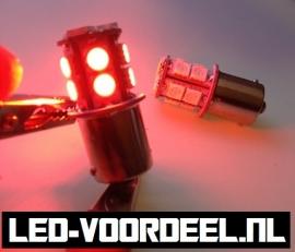 BA15S - P21W / 1156 - 13 SMD LED - Rood