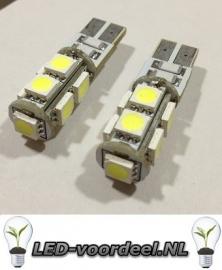 T10 W5W 9 smd LED - Canbus stadslicht - 1 setje