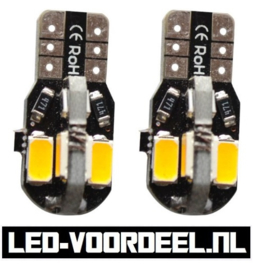 T10 W5W 8 smd LED - Canbus stadslicht - 1 setje