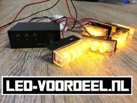 Led Stroboscoop voor de auto 6x3 LEDS Oranje