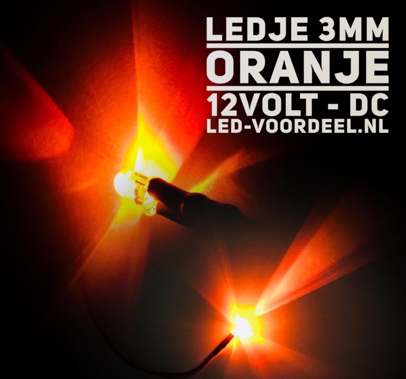 LEDjes 3mm Oranje  12 Volt