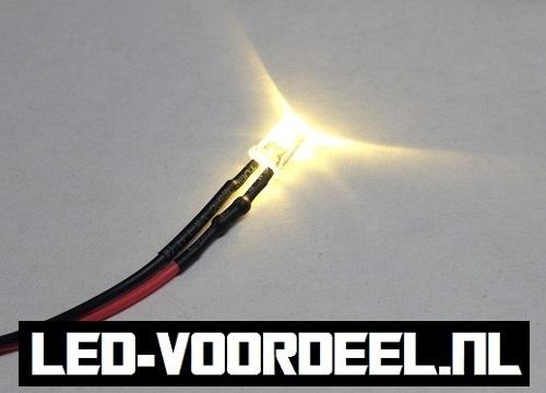 LEDjes 5mm Warm wit  12 Volt