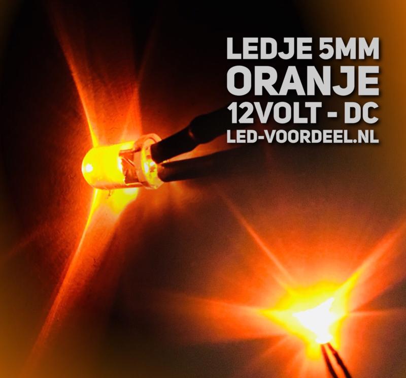 LEDjes 5mm Oranje  12 Volt