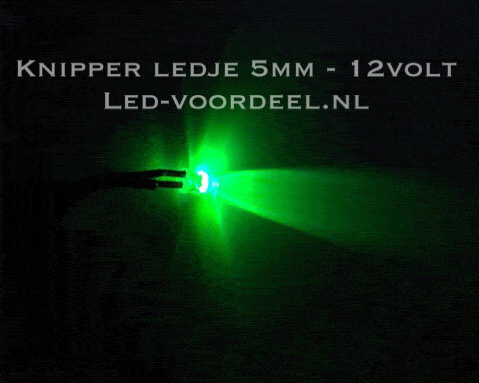 Knipper ledje 5mm Groen 12 Volt