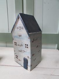 Huis van oud hout, blauw, 25 cm