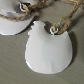 Kip van metaal, wit per 10 stuks (4 cm)