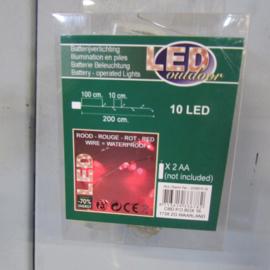 Kerstverlichting rood 10 lamps
