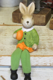 Haasje/konijntje met bungelbeentjes groen