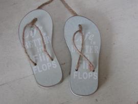 "Slippers  ""life is better in flip flops"" 11,5 cm zacht groen"