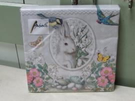 Servetten White Rabbit Grey normaal formaat