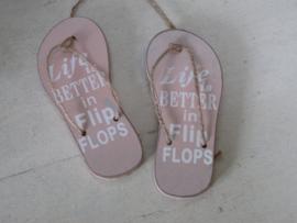 "Slippers ""life is better in flip flops""roze 11,5 cm"