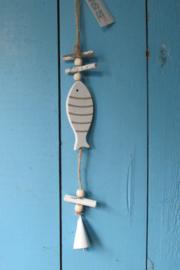 Vis met bel decoratie,  35 cm wit