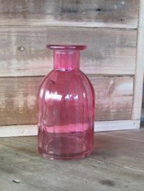 Vaasje van glas, roze 14 cm