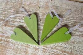 4 hartjes van 6 cm  groen
