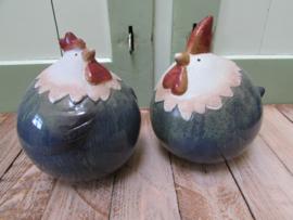 Kip en haan blauw 16 cm