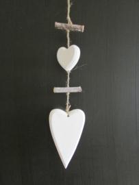 Hart decoratie van hout, wit/naturel