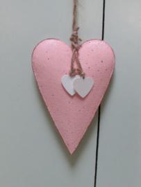 Hart van metaal roze/wit 14.5 cm