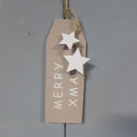 Merry Christmas 18x6 cm wit/taupe