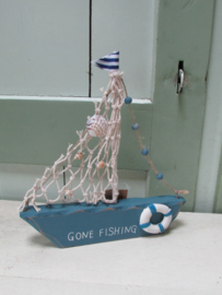 Boot van hout 20 cm, blauw