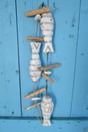 Vissen guirlande/slinger 1.10 cm wit/grijs