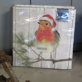 Kerstservetten 'Robin on Xmas tree', normaal formaat