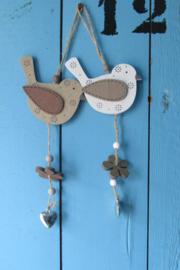 Vogel decoratie van hout, met hartje 20x9 cm (per 2)