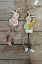 Haasje/konijntje 14 cm ( het jongetje met wortel)