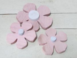 Bloemen van hout 3 stuks, roze