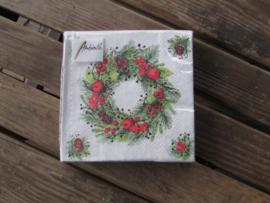 Kerstservetten Wreath in Linen klein formaat