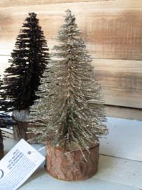 Kerstboompje goud met glitter op een schijfje 14 cm hoog