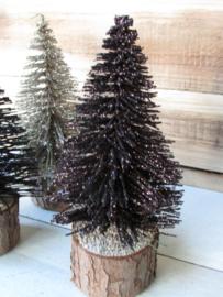 Kerstboompje  koper met glitter 14 cm