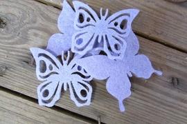 vilten vlinders lila per 6