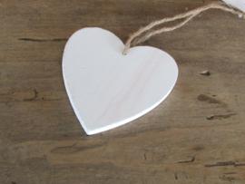 Hartje  van hout, 10 cm wit