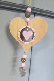 Hartje/naturel/roze 25 cm lang