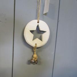 Houten ornamentje met sterretje en belletjes