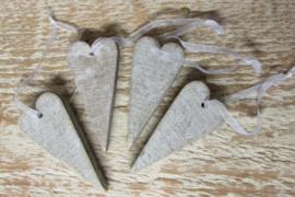4 hartjes van 6 cm  grijs