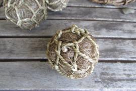 Deco bal zeegras/touw 7 cm