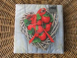 Servetten Strawberry Heart ( normaal formaat)