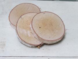 Houten schijf 11/12 cm naturel
