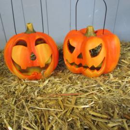 Halloween windlicht (boze uitdrukking) 16 cm(alleen af te halen)