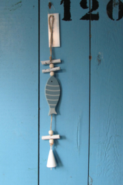 Vis met bel decoratie 35 cm l.blauw/wit