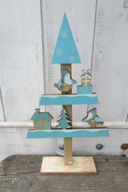 Kerstboom met vogeltjes en huisjes 39 cm (blauw/naturel)