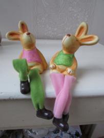 Haasje/konijntje met bungelbeentjes  (pastel) per stel