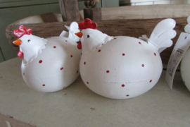 Kip van metaal, rood/wit 10 cm
