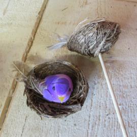 Vogelnestje zonder  steker lila/paars