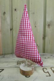 Kerstboom rood/wit geruit 15 cm