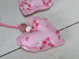 Hartje van stof, roze  7,5 cm