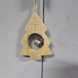 Houten kerstboompje met belletje 10 cm