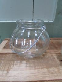 Windlichtje van glas, 10 cm